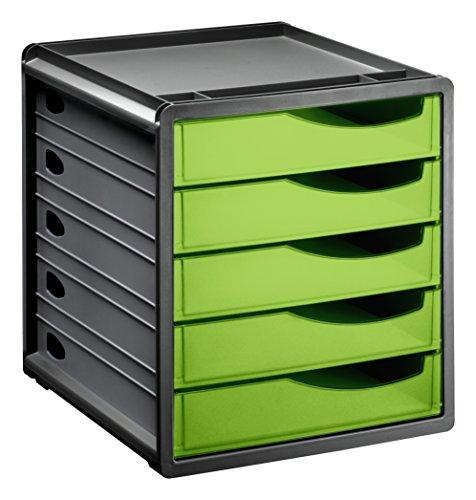 "Rotho 1106505519 Schubladenbox Bürobox Spacebox aus Kunststoff (PS), 5 geschlossene Schübe, A4-Format, circa"" 33 x 28.5 x 32 cm, Anthrazit/Grün Bürobox, Plastik"