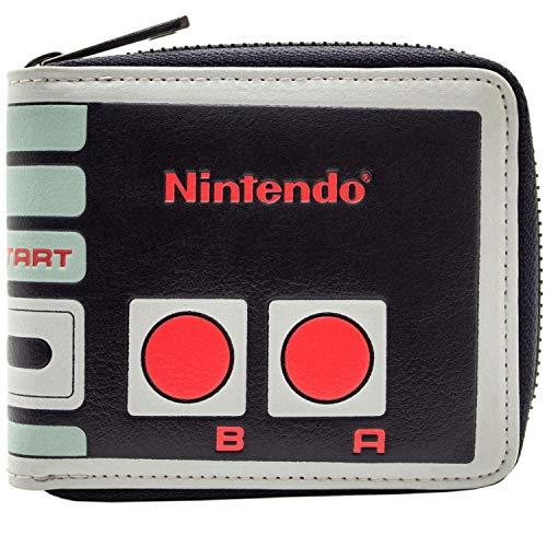 Nintendo NES Reißverschluss Controller Entwurf Grau Portemonnaie Geldbörse