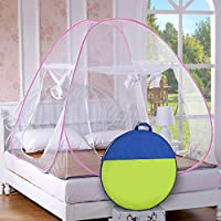 Story@Home Mosquito Net Foldable King Size/Queen-XL Size Double Bed( Baby Pink)