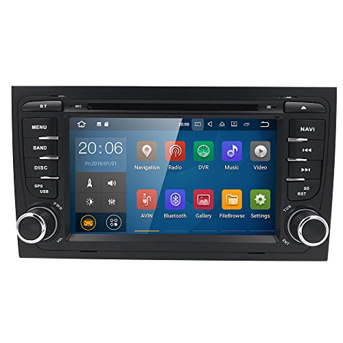 2Din 7Inch Android Hizpo 7.1Quad Core Car Stereo Moniceiver DVD Receiver for Audi A42002–2008Support GPS Navigation/Bluetooth/Steering Wheel Remote Control WiFi