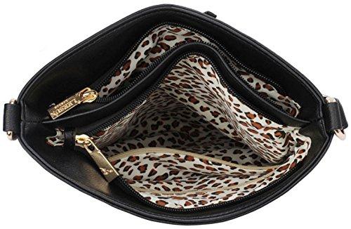 LeahWard® Damen Schulter Handtaschen Damen Mode Essener Berühmtheit Reißverschluss Qualität Kunstleder Kreuzkörper Kuriertaschen CWS00433 CWS00428 CWRB15112 Schwarz