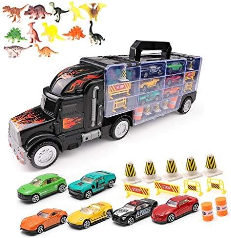 Siyushop Transport Car Truck Truck 6/12/18 Voitures de Course en métal élégantes - Garçon de Voiture Jouet   âgé de 3 à 8 Ans Donnez 12 Jouets de Dinosaure, Panneaux de signalisation Dessins de   Emballage é