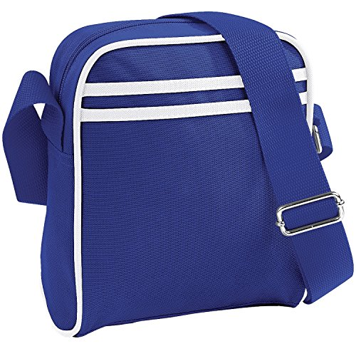 BagBase Retro Mini Reporter-Tasche/Schultertasche, 2 Liter (Einheitsgröße) (Königsblau/Weiß) 2 Liter Mini