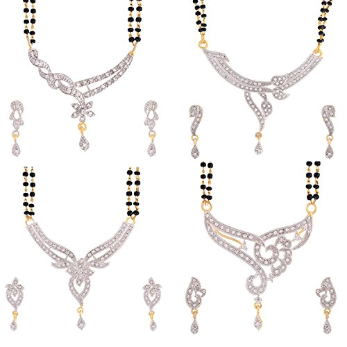 Youbella Jewellery Gold Plated Combo Of 4 Mangalsutra Pendant Necklace With Earrings Set For Women