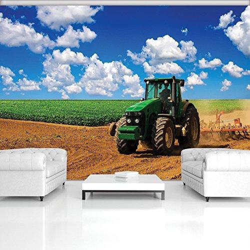DekoShop Fototapete Vlies Tapete Moderne Wanddeko Wandtapete Grüner Traktor auf dem Feld AMD1909V4 V4 (254cm. x 184cm.) Transport -