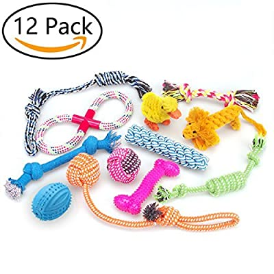 Dog Toys 12 Pack Gift Set,RoyalCare Ball Rope and Chew Squeaky Toys for Medium to Small Dog
