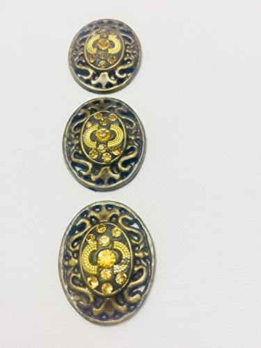 Antique Gold Buttons Beautifully Crafted with Stone for Kurtis Ethnic Dresses by 3