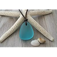 Handmade in Hawaii, leather cord unisex blue sea glass necklace, Hawaiian Gift, FREE gift wrap, FREE gift message, FREE shipping
