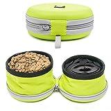 Louvra 2 Stück Pet BowlHaustier Futternapf und Trinknapfim Kombi Faltbare Reisenäpfe mit Reißverschluss , Grün/Orang