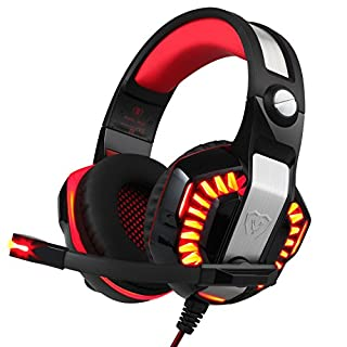 BlueFire Upgraded Gaming Headset for PS4 / Xbox One/Xbox One S, with LED Light Soft Mic Volume Control 3.5mm Wired Headphone for iPhone/iPad / Android Phone/Computer(Red)