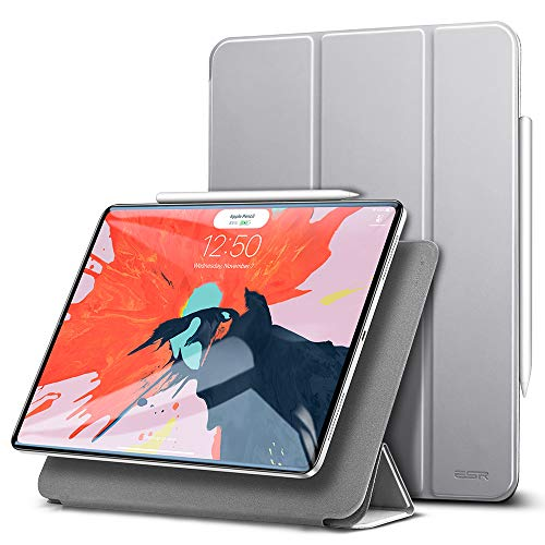 ESR Hülle kompatibel mit iPad Pro 2018 12.9 - [Apple Pencil kompatibel] Magnetisches Smart Case - Ultra Dünnes Cover mit Auto Sleep/Wake - Kratzfeste Schutzhülle für iPad Pro 12,9 Zoll 2018 - Silber