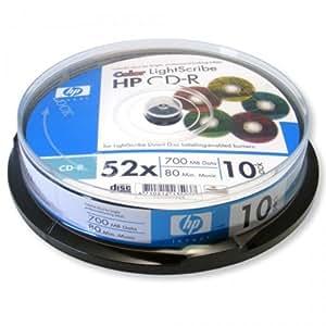 Hewlett Packard CD-R LightScribe Couleur, 10 pièces en cake box