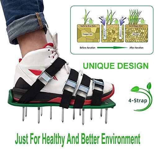 Rasenbelüfter|Rasenlüfter|Vertikutierer Rasen Vertikutierer Rasen Nagelschuhe Schuhe Nagelschuhe Rasen-Lüfter-Schuhe Gartenschuhe Gemüsegarten Sandalen 5.7cm 26 Nägel universelle Größe für Rasen | Garten > Gartengeräte > Vertikutierer | Aluminium | Sinbide