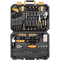 DEKO Ensemble d'outils de réparation à domicile de 100 pièces, trousse à outils de ménage général avec rangement pour boîte à outils en plastique (128PCS)