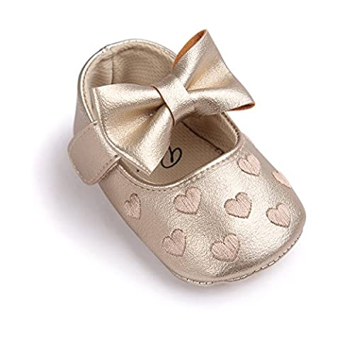 Chaussures de bébé Auxma bébé fille Bowknot chaussures en cuir doux baskets glisser seul enfant pour 0-18 mois (0-6 M, Or)