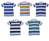 Indistar Boys Half Sleeves Cotton Polo T-Shirts(Pack of 5)_Blue::Yellow::Purple::Green::Black_S