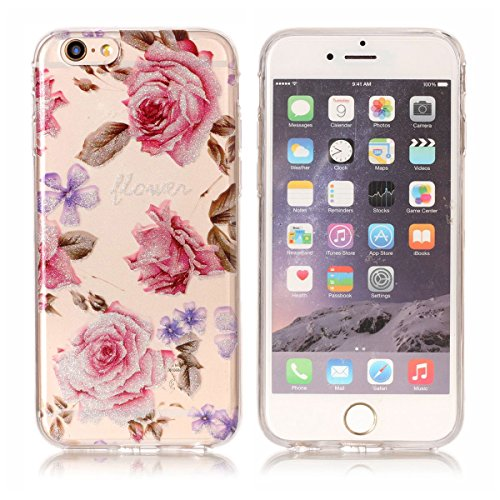 iPhone 6S Plus Hülle ,Fodlon® Ultra Slim Fit TPU Gel Skin BlinkenPulver Schutzhülle / Case / Cover -Zweige Pflaumenblüte Rosen