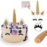 Decoración para Tarta de Cumpleaños de Unicornio  , Corne de Licorne Insolite, Oreilles et Cils Party Decorant Cake Set de valeur pour bébé douche, mariage et fête d'anniversaire