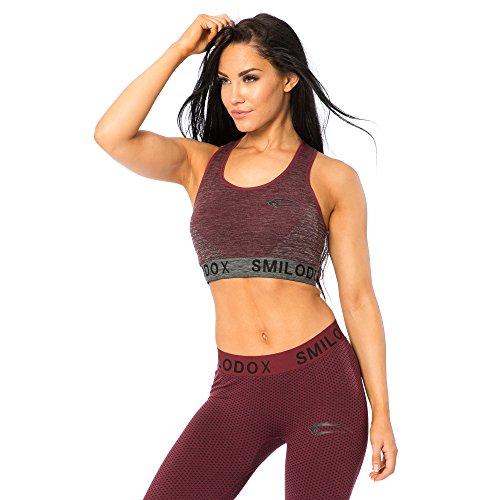 SMILODOX Seamless Sport-BH Damen | Fitness-BH ohne Bügel | Starker halt im Training - Bustier ideal für Yoga Gym Fitness & Workout - Soft Büstenhalter - Sports Bra Anthrazit