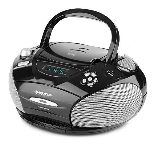 auna RCD 220 Boombox Radio CD • Minicadena compacta • Reproductor de CD y Cassette • USB Compatible MP3 • Radio FM • AUX • Reproducción programable y aleatoria • Modo Despertador • Portátil • Negro
