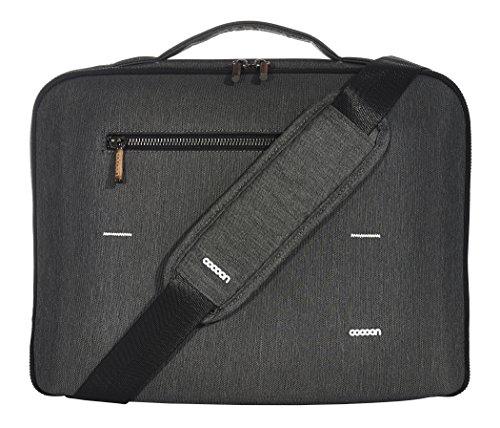 """Cocoon GRAPHITE BRIEF - 13"""" MacBook Pro Sleeve & Organizer mit elastischen Bänder/Business-Tasche/Schutzhülle für Laptops/Wasserabweisend / Faux Fur Polsterung – Dunkel-Grau / 36,1x10,7x28,5 cm"""