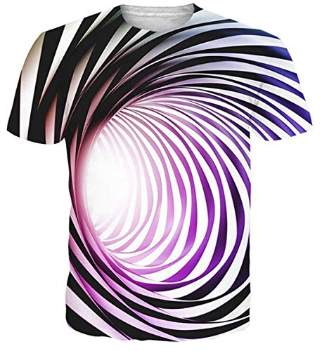 Adicreat T-Shirt Herren Frauen 3D Wirbel Sommer Casual Kurzarm T-Shirt