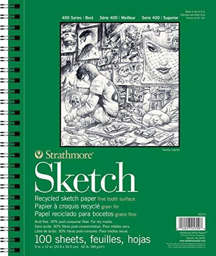 Strathmore 457–9400Serie recyceltem Sketch Pad, 22,9x 30,5cm spiralgebunden, 100Blatt