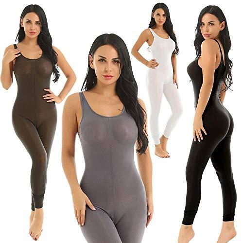 Sexy Womens Glossy Silk Jumpsuit Semi Sheer Bodysuit Langer Reißverschluss Ärmellose Tank Romper Yoga Dance Trikot Dessous (Color : Black, Size : One Size) -