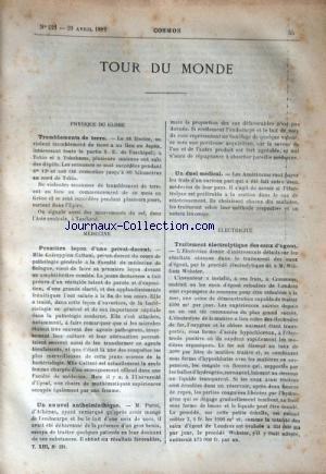 COSMOS [No 221] du 20/04/1889 - TOUR DU MONDE - TREMBLEMENTS DE TERRE - 1ERE LECON D'UNE PRIVAT-DOCENT - TRAITEMENT ELECTROLYTIQUE DES EAUX D'EGOUT - UN DUEL MEDICAL - LE PONT SUR LA TAMISE