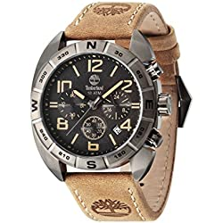 Timberland Men's Quartz Watch with Black Dial Chronograph Display and Brown Leather Strap 13670JSU/02