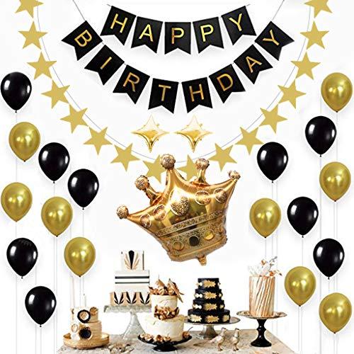 (Tumao 15 Stück Schwarz und Gold Geburtstagsfeier Dekorationen Set,Luftballons Schwarz Gold Ballons mit Gold Konfetti Luftballon,Happy Birthday Banner für Damen Herren Geburtstag Abschluss Party Deko.)