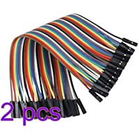 TrifyCore 2 x 40pcs Hembra a Hembra 2.54 mm 0.1 in Jumper Cable F/F (2 x 40)