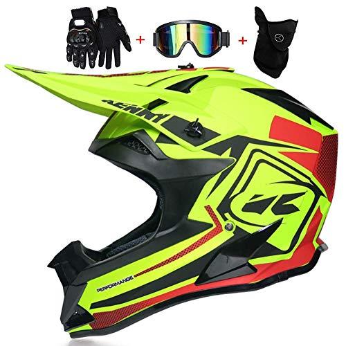 SK-LBB Casco da motocross, Four Seasons Universale Mountain Cross-Country-Lokomotive ATV-Downhill-Ski Fox Casco integrale certificato DT, confezione regalo (4 pezzi)