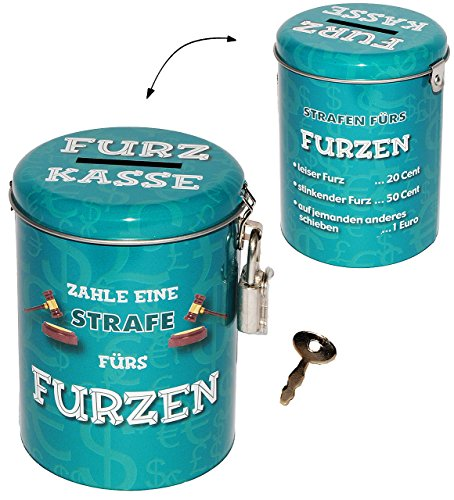 alles-meine.de GmbH Spardose als Strafkasse -  Furz Kasse  - stabile Sparbüchse aus Metall - incl. 2 Schlüssel - mit Strafe Furzen Furzer - Männer / stinken riechen - Schlafen .. - Fürze Riechen