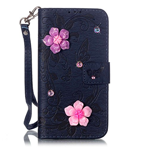 JIALUN-Telefon Fall Mit Card Slot, Lanyard, geprägte Mode Open Handy Shell für IPhone 7 Plus ( Color : Pink , Size : Iphone 7 Plus ) Black