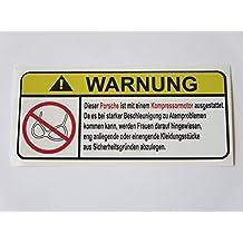 Porsche Kompressor Motor German Lustig No Bra Warnung Aufkleber Decal Sticker