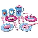 #1018 Disney Frozen Geschirrset mit Geschirr, Teekanne, Gebäck und Zubehör • Puppengeschirr Puppenservice Tee Geschirr Kinderküche Spielküche Kinder Spielzeug Set