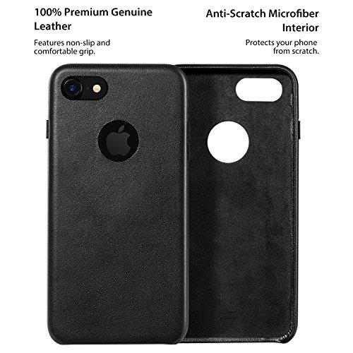 RANVOO [DELUXE] iPhone 7 Hülle, Premium Handgefertigte Echte Leder Hülle + Alcantara Innenmantel, Schwarz Schwarz
