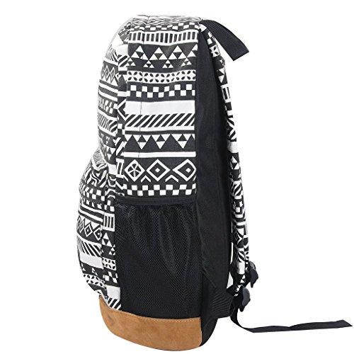 Yiuswoy Retro Nationalen Wind Muster Leinwand Taschen Reisetaschen Schultaschen Rucksack Fuer Schule – Farbe E - 2