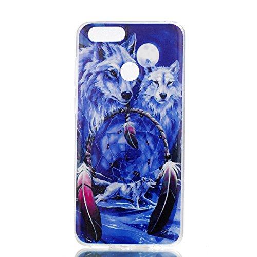 Preisvergleich Produktbild Honor 7X Hülle, Huawei Honor 7X Hülle, Anlike Huawei Honor 7X Handy Hülle [Bunte Muster Design] Schutzhülle Etui Bumper für Huawei Honor 7X - Blauer Wolf