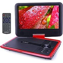 [Nuova versione] ieGeek 11.5'' Lettore DVD Portatile, 5 ore Batteria ricaricabile, supporto schedeSD e pennette USB, avvio diretto di MP4/AVI/RMVB/MP3/JPEG, Rosso