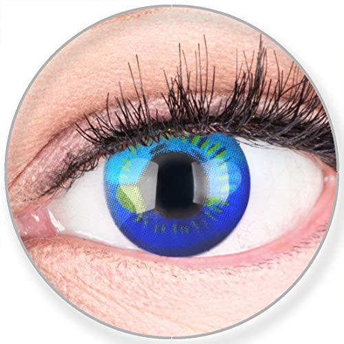 Funnylens Farbige Kontaktlinsen Blau Anime Blue Circle Lenses Heroes Of Cosplay Stark Deckend Ohne Stärke mit gratis Linsenbehälter