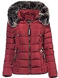 Trisens Damen Winter Jacke Pelz Kapuze KURZ Mantel SKI Jacke DAUNEN Optik, Größe:L, Farbe:Bordeaux