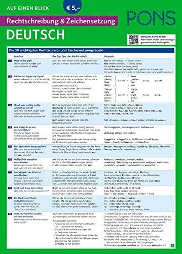 PONS Rechtschreibung und Zeichensetzung auf einen Blick Deutsch: Kompakte Übersicht: Schreiben lernen (PONS Auf einen Blick)