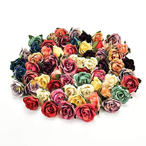 AZXU Seidenblumen in Groß Großhandel Seidenblumen Köpfe Hochzeit Künstliche Blumen Geburtstagsfeier Dekorative Faux Geschenke Blume DIY Zubehör 30 Stücke 3 cm (Multicolor Random) (Zubehör Hochzeit Großhandel)