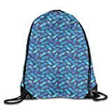 Drawstring Backpack Gym Bags Storage Backpack, Tropical Hawaiian Pineapple In Blue Shades Hipster Exotic Summer Fantasy,Deluxe Bundle Backpack Outdoor Sports Portable Daypack