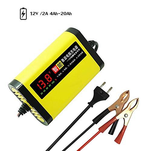 Festnight Caricabatteria per Moto per Auto 12V 2A Completo Automatico 3 Fasi Piombo Acido AGM Gel Display LCD Intelligent
