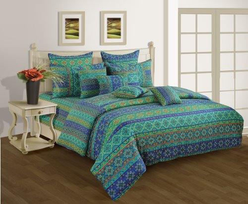 Swayam Shades N More Printed Cotton Double Duvet Cover - Multi Blue...