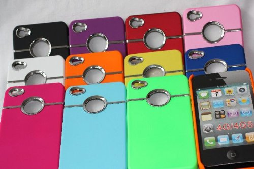 iPhone 4/4S Case Cover Coque de Protection Rigide Metal bague + 2 protecteur d'écran top390, Vert lilas