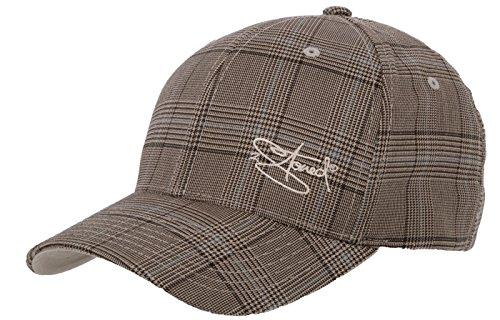 Flexfit Cap Glen Check mit Stick Classic Logo von 2Stoned in Braun/Khaki Größe L/XL (57cm - 60cm), Basecap für Damen und Herren